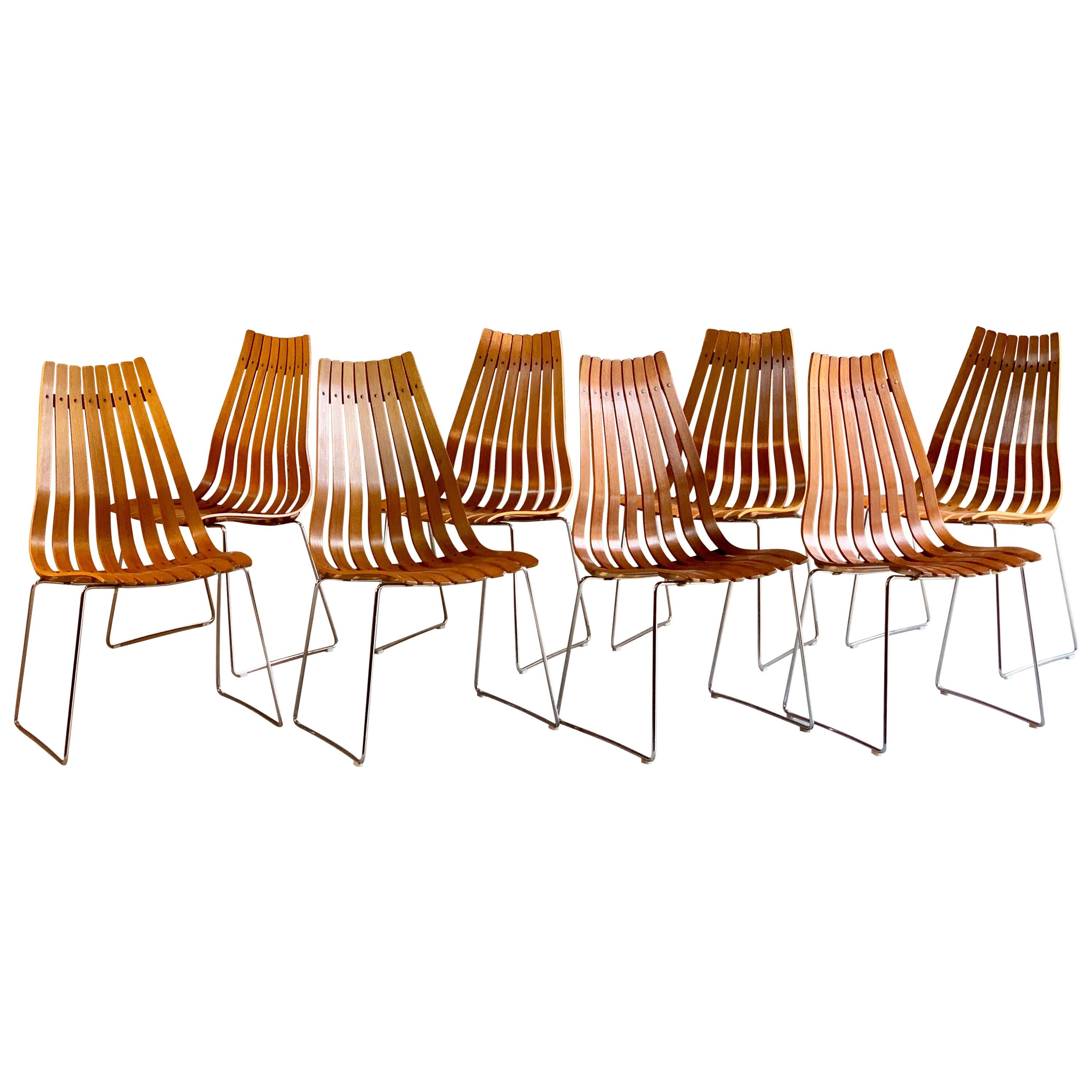 Scandia Dining Chairs Set of Eight by Hans Brattrud for Hove Mobler Teak, 1970s