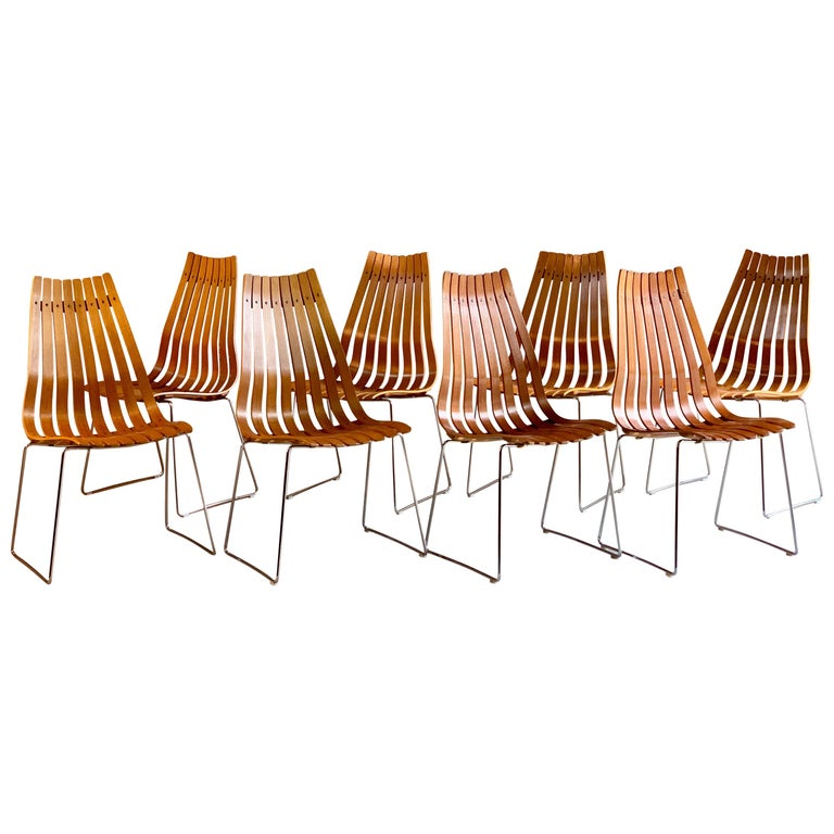 Scandia Dining Chairs Set of Eight by Hans Brattrud for Hove Mobler Teak, 1970s For Sale