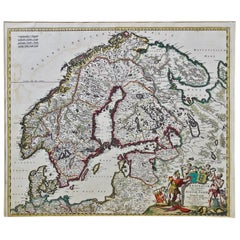 Scandinavia a Hand Colored 17th Century Map by Frederick de Wit