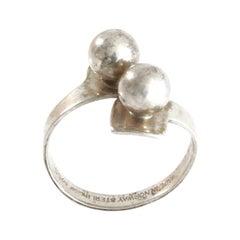 Scandinavia Aksel Holmsen 1960s Modernist Silver Ring