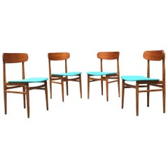 Scandinavia Midcentury Teak and Light-Blue Sky Chairs, 1960s