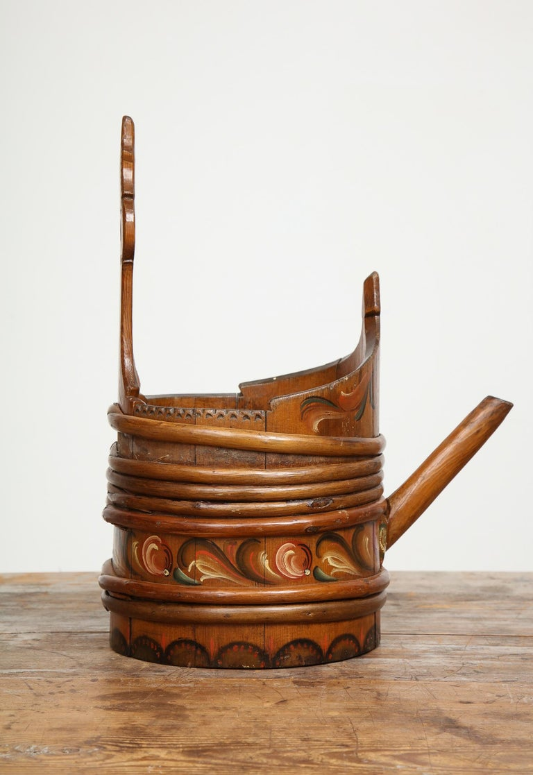 18th Century and Earlier Hand Painted Allmoge Water/Beer Tankard, Dalarna, Sweden, Circa 1800 For Sale