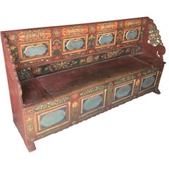 Scandinavian 18th Century Carved And Painted Folk Bench, Dated 1787