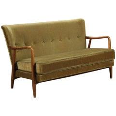 Skandinavisches Samt-Sofa, 1940er Jahre