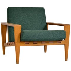 Scandinavian 1950s Midcentury Oak Leather Svante Skogh Bodo Lounge Chair Seffle