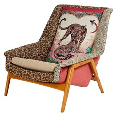 Scandinavian 1960s DUX Lounge Chair Covered in Jungle Love Fabric by Hermès