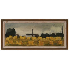 Scandinavian 1960s Swedish Impressionist Painting of Haystacks on canvas Nilsson