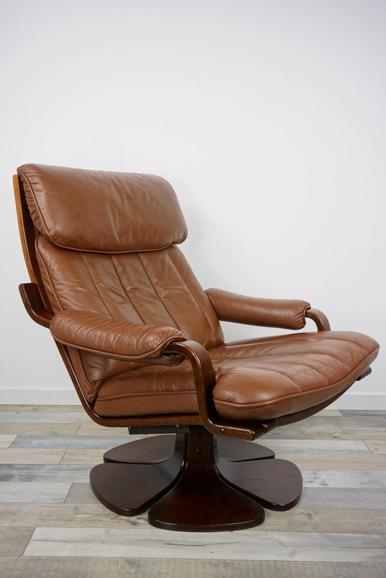 Scandinavian 1970s Design Wooden and Leather Swivel ...