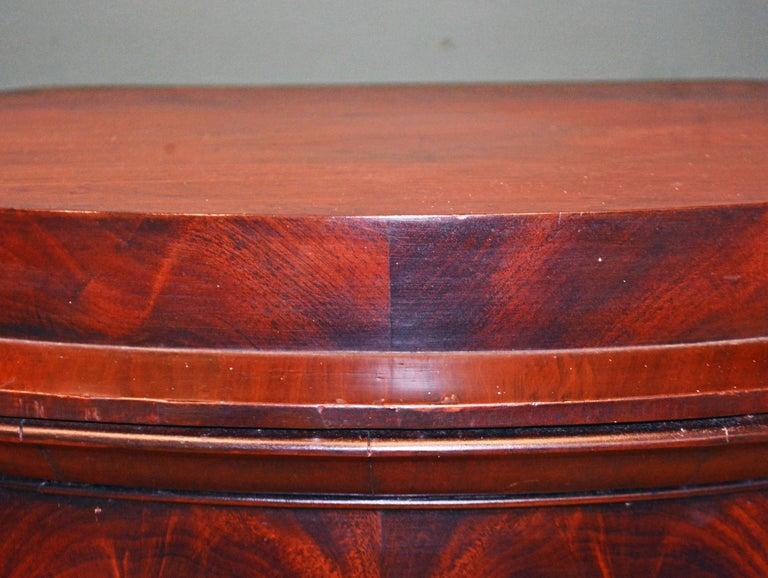 Wood Scandinavian 19th Century Figured Flame Mahogany Oval Pedestal Cabinet