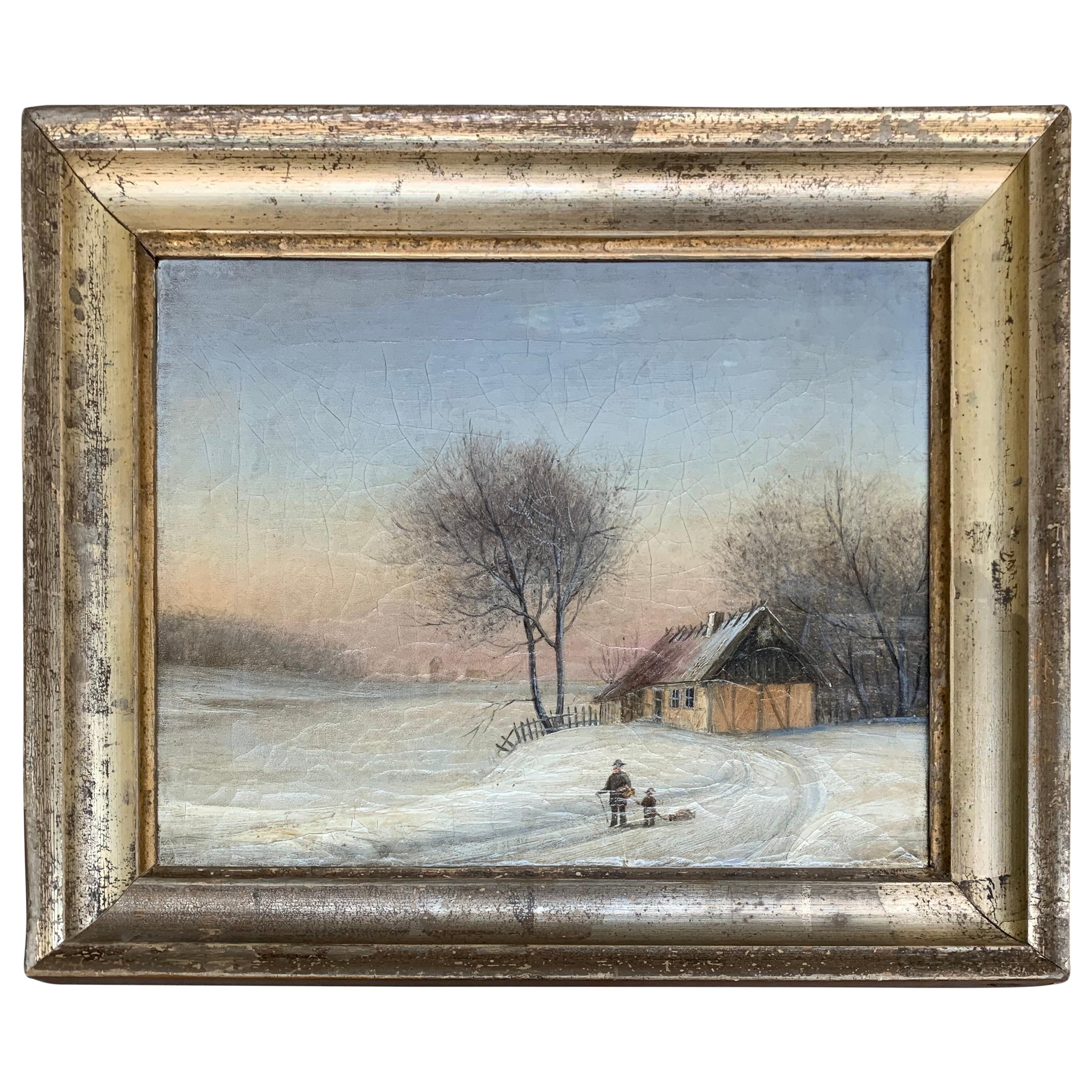 19th Century Oil Painting Of Farm House In Original Silver Frame, Scandinavia