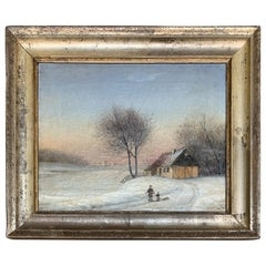 Scandinavian 19th Century Oil Painting with Original Silver Frame