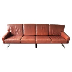 Scandinavian 4-Seater Sofa in Red-Brown Leather, 1960's