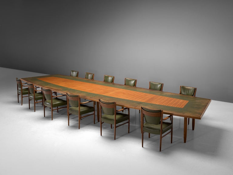 Scandinavian Freeform Table with Leather Inlay For Sale 6