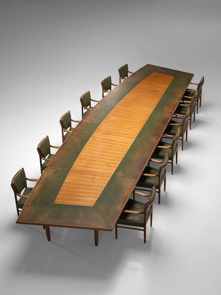 Scandinavian Freeform Table with Leather Inlay For Sale 7