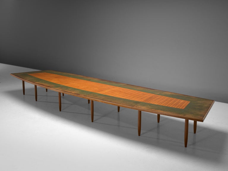 Mid-Century Modern Scandinavian Freeform Table with Leather Inlay For Sale