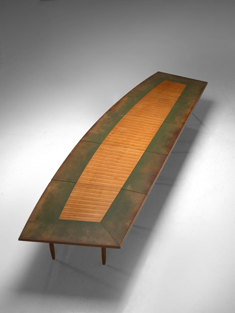 Scandinavian Freeform Table with Leather Inlay In Good Condition For Sale In Waalwijk, NL