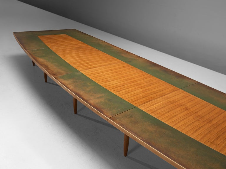 Mid-20th Century Scandinavian Freeform Table with Leather Inlay For Sale
