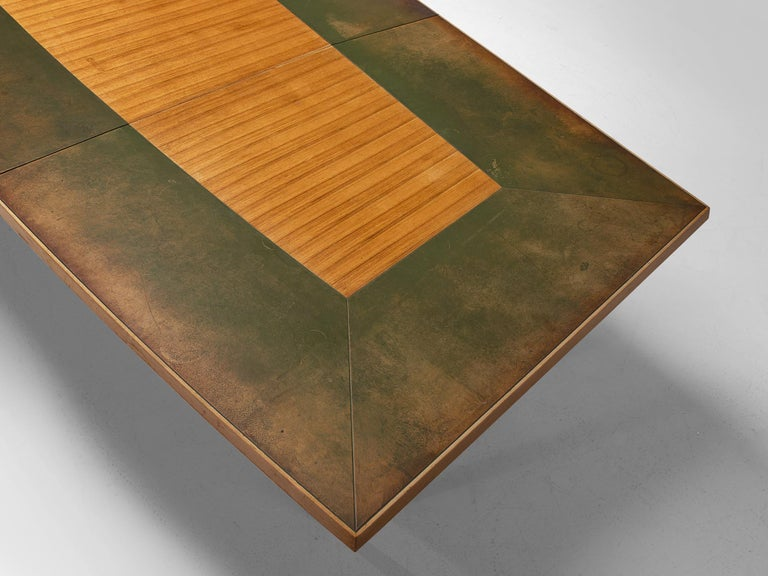 Teak Scandinavian Freeform Table with Leather Inlay For Sale
