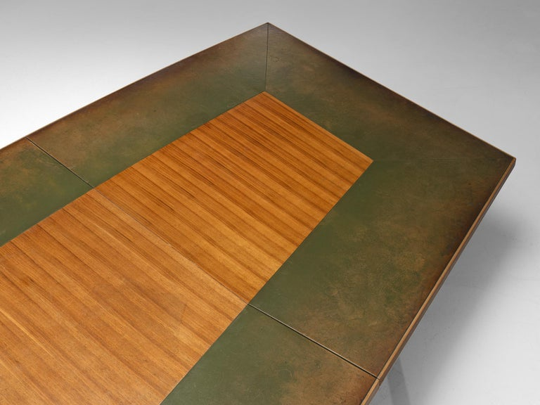 Scandinavian Freeform Table with Leather Inlay For Sale 1