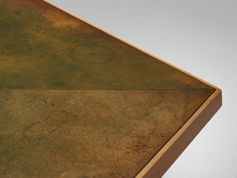 Scandinavian Freeform Table with Leather Inlay For Sale 2