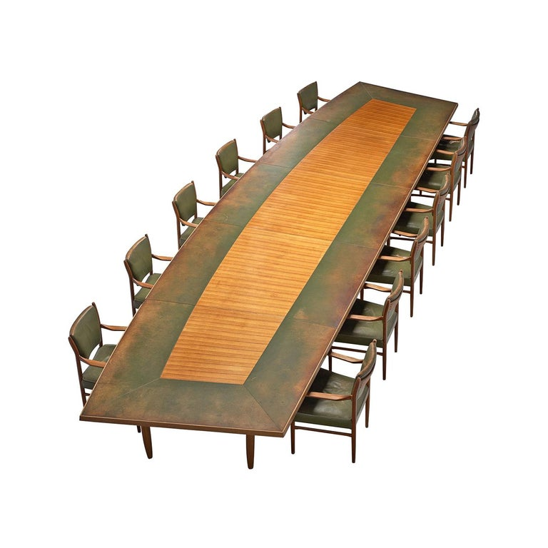 Scandinavian Freeform Table with Leather Inlay For Sale