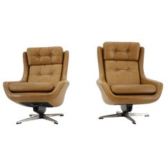 Scandinavian Adjustable Leather Armchairs/Lounge Chairs by Peem, 1970s, Finland