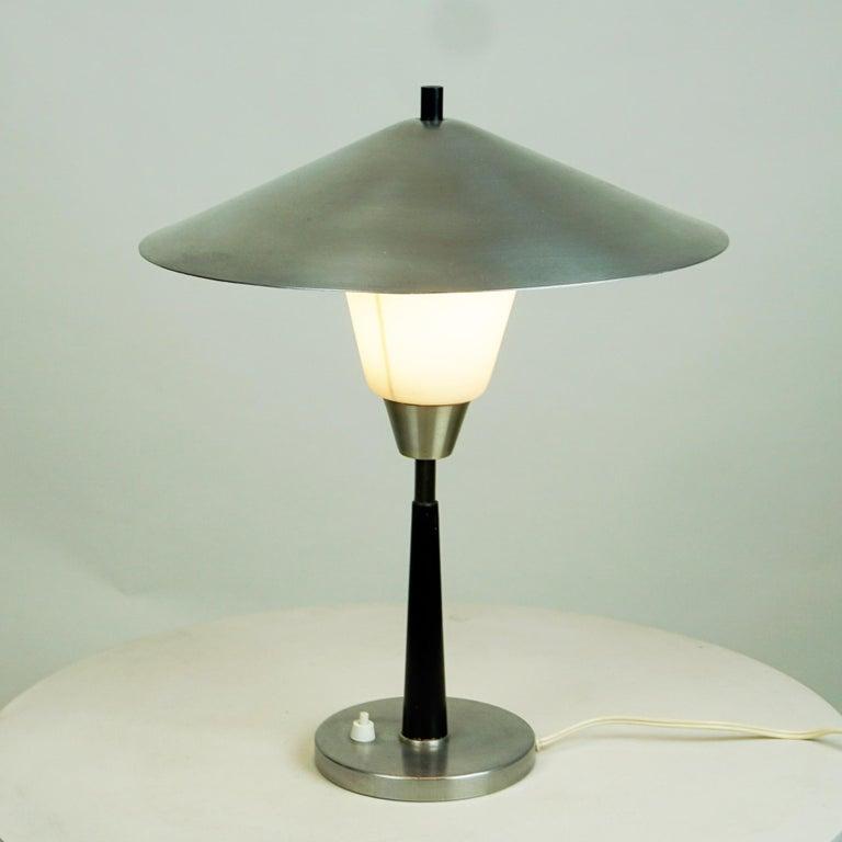 Danish Scandinavian Aluminum and Opaline Glass Table Lamp by Fog & Mørup, Denmark For Sale