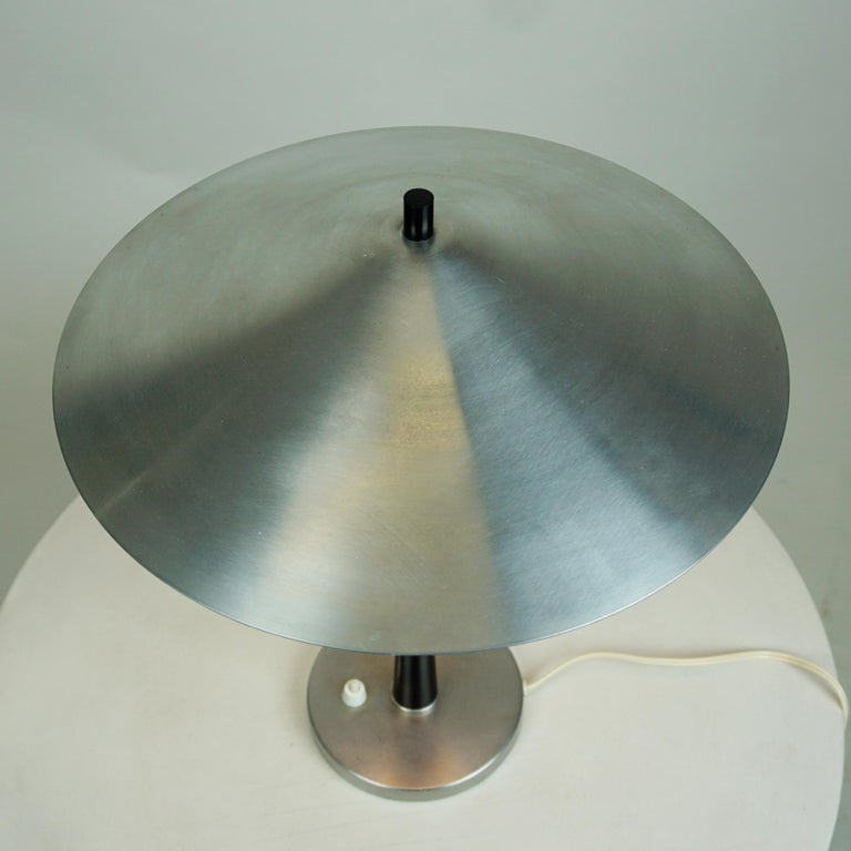 Scandinavian Aluminum and Opaline Glass Table Lamp by Fog & Mørup, Denmark In Good Condition For Sale In Vienna, AT