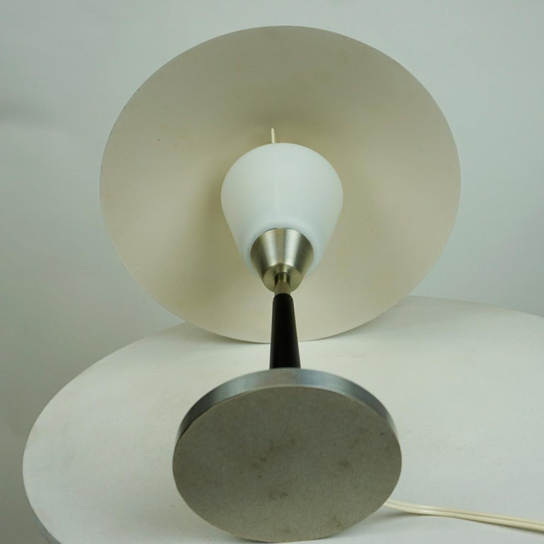 Mid-20th Century Scandinavian Aluminum and Opaline Glass Table Lamp by Fog & Mørup, Denmark For Sale