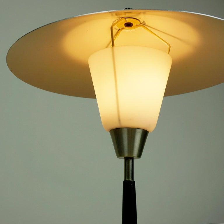 Scandinavian Aluminum and Opaline Glass Table Lamp by Fog & Mørup, Denmark For Sale 2
