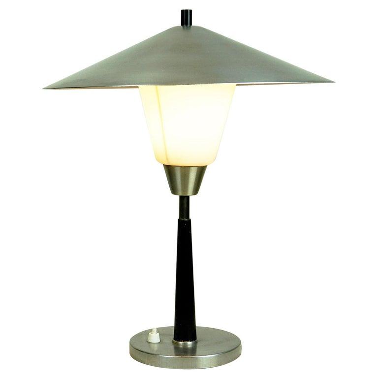 Scandinavian Aluminum and Opaline Glass Table Lamp by Fog & Mørup, Denmark For Sale