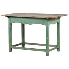 Scandinavian Antique Table of Pine Wood with Green Patinated Frame, 19th Century