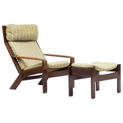 Scandinavian Architectural Lounge Chair with Footstool
