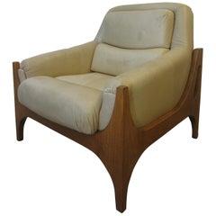 Scandinavian Armchair cream leather, 1960s