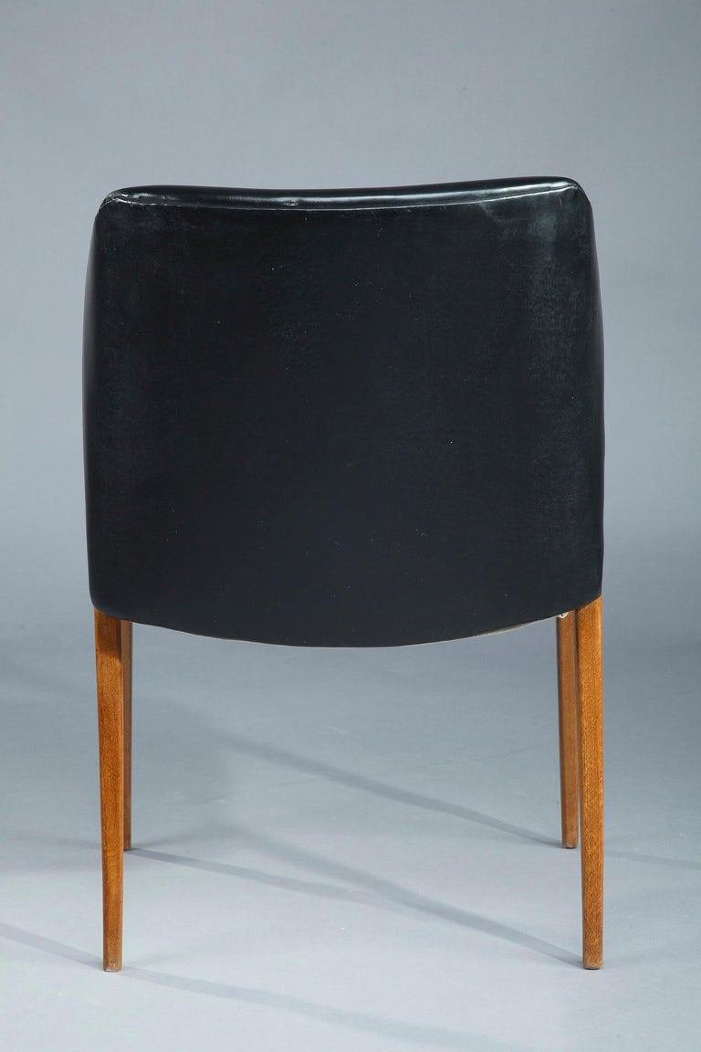 Faux Leather Scandinavian Armchair by Arne Vodder for Sibast, 1950 For Sale
