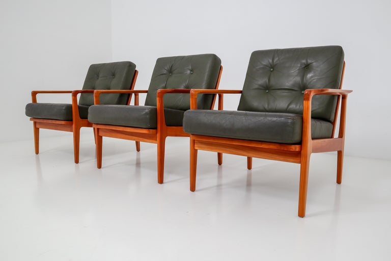 Scandinavian Armchairs in Fine Leather, circa 1960 For ...