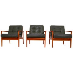 Scandinavian Armchairs in Fine Leather, circa 1960