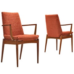 Scandinavian Armchairs in Teak and Red/Orange Cord Upholstery