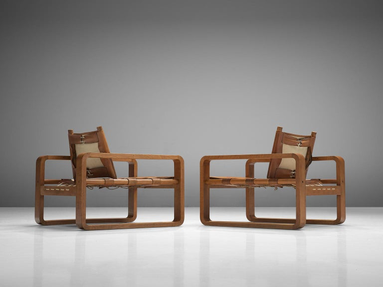 Scandinavian Armchairs with Cubist Frames For Sale 1