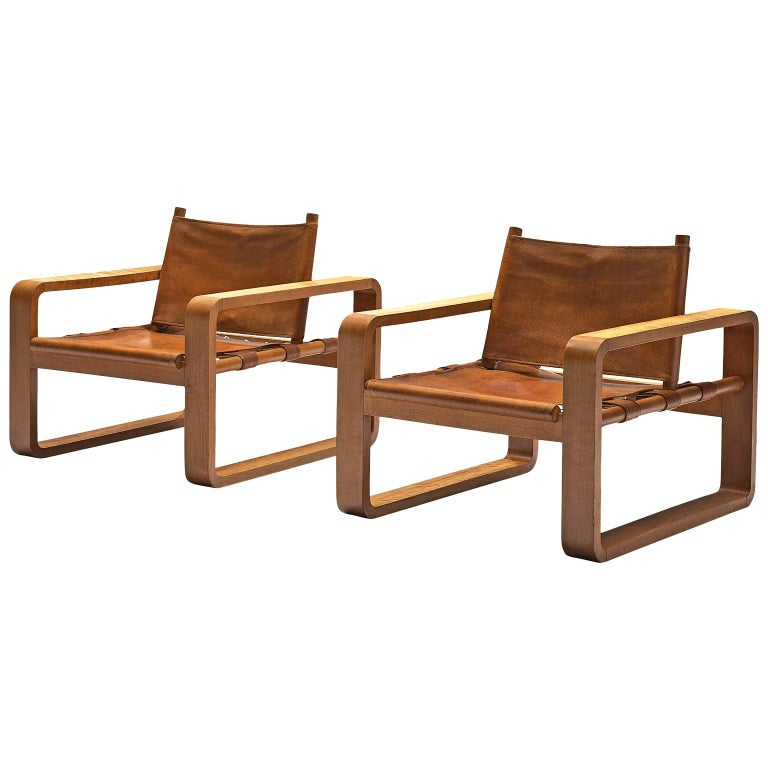 Scandinavian Armchairs with Cubist Frames For Sale