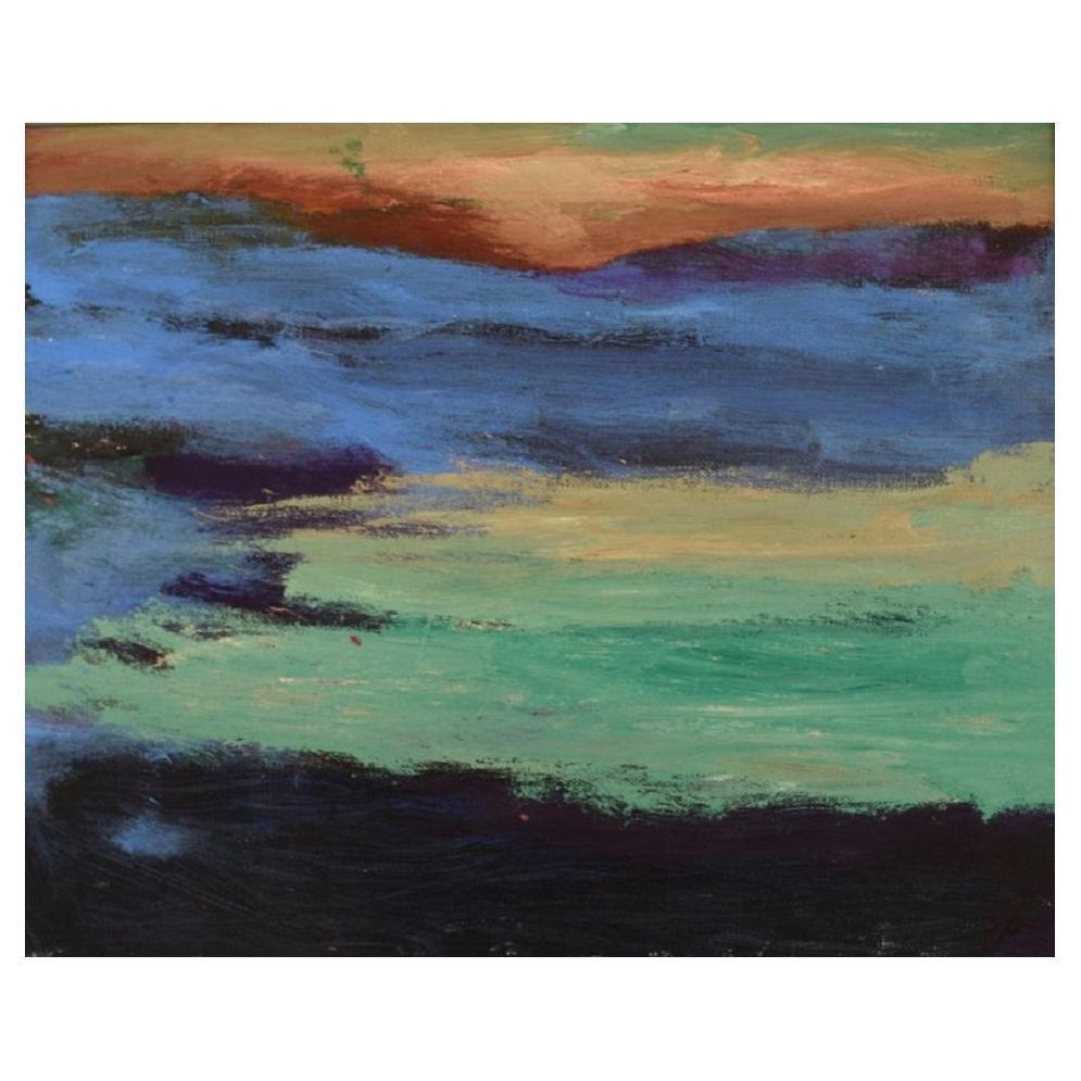 Scandinavian Artist, Oil on Canvas, Abstract Composition, 1980s