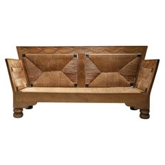 Scandinavian Arts & Crafts Sofa Bench in Oak and Straw