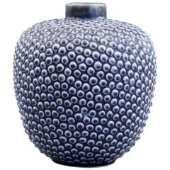 Scandinavian Attributed Mid Century Blue Glazed Stipple Pattern Vase