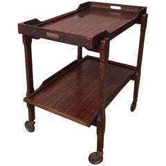 Scandinavian Bar Cart or Trolley in Mahogany Wood with Removable Tray, 1950s