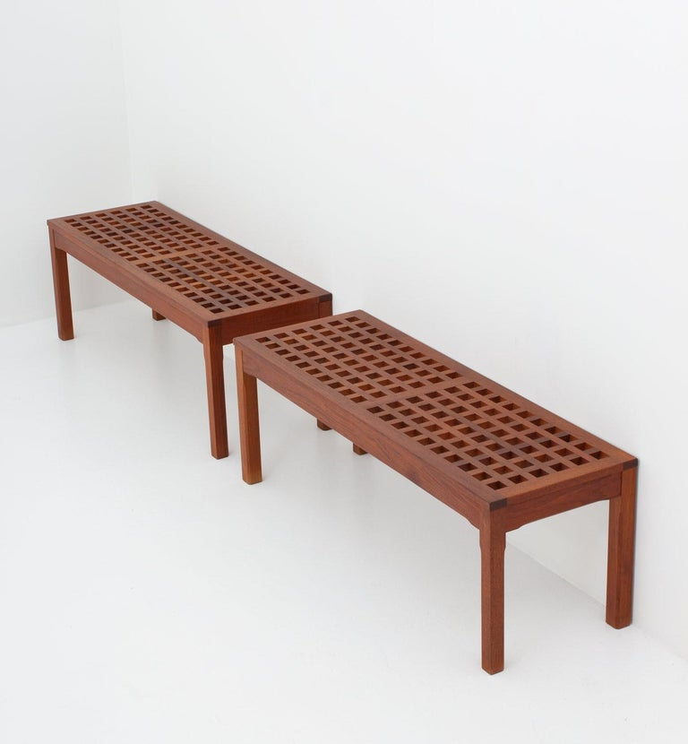 Mid-Century Modern Scandinavian Benches in Teak by John Vedel-Rieper for Källemo, 1960s For Sale
