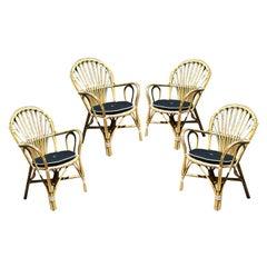 Scandinavian Bent/Woven Bamboo Armchairs