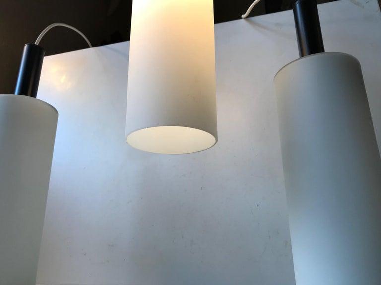 Scandinavian Modern Scandinavian Black and White 'Mallet' Pendant Lights by Lyfa, 1970s, Set of 3 For Sale