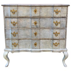 Scandinavian Blue Painted Baroque Chest of Drawers, 18th Century