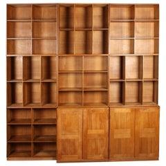 Scandinavian Bookcase in Patinated Oak by Mogens Koch, 1940s