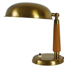 Scandinavian Brass and Wood Table Lamp, 1930s-1940s